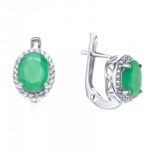 925 Sterling Silver pair earrings with white topaz and emerald