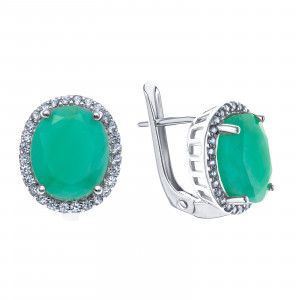 925 Sterling Silver pair earrings with white topaz