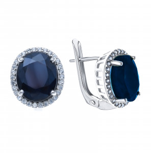925 Sterling Silver pair earrings with white topaz and sapphire