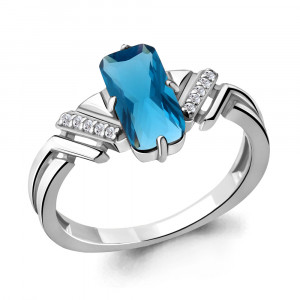 925 Sterling Silver women's rings with nano london topaz and cubic zirconia