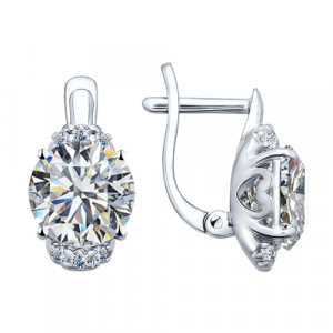 925 Sterling Silver pair earrings with cubic zirconia swarovski and swarovski
