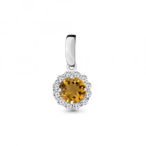 925 Sterling Silver pendants with citrine and cubic zirconia