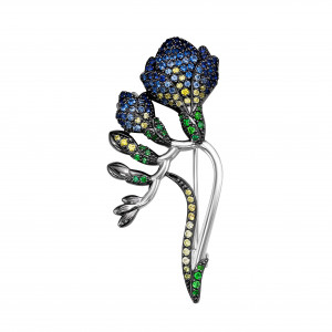 925 Sterling Silver brooches with  and chrysolite