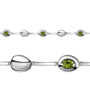 925 Sterling Silver bracelets with chrysolite