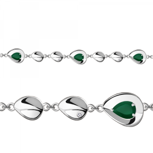 925 Sterling Silver bracelets with green agate