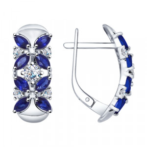 925 Sterling Silver pair earrings with cubic zirconia and synthetic quartz