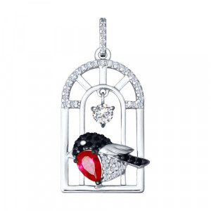 925 Sterling Silver pendants with cubic zirconia and corundum