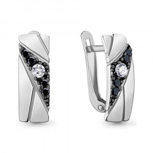 925 Sterling Silver pair earrings with nano crystal and cubic zirconia
