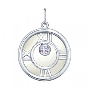 925 Sterling Silver pendants with cubic zirconia and mother of pearl