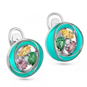 925 Sterling Silver pair earrings with sitall and cubic zirconia