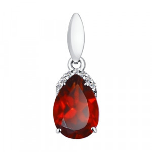 925 Sterling Silver pendants with garnet and cubic zirconia