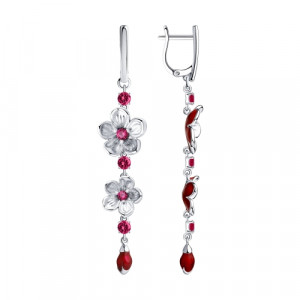 925 Sterling Silver pair earrings with enamel and corundum