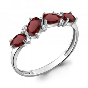 925 Sterling Silver women's rings with garnet