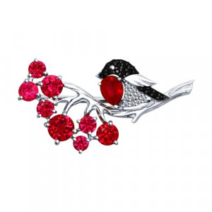 925 Sterling Silver brooches with cubic zirconia and synthetic corundum