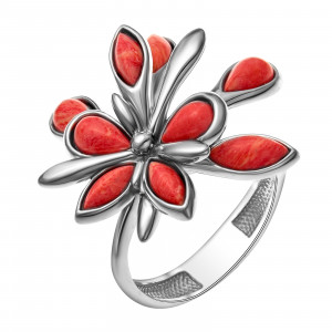 925 Sterling Silver women's rings with coral and synthetic coral