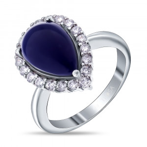 925 Sterling Silver women's ring with cubic zirconia and synthetic lapis