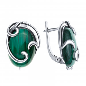 925 Sterling Silver pair earrings with malachite