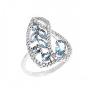 925 Sterling Silver women's rings with synthetic topaz