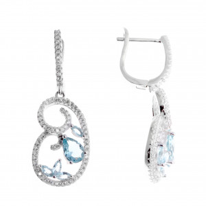 925 Sterling Silver pair earrings with synthetic topaz and cubic zirconia