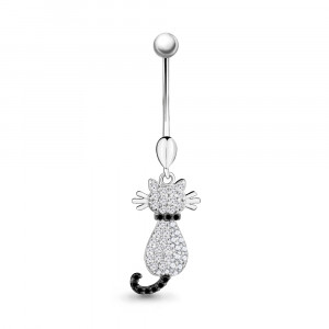925 Sterling Silver piercing with nano crystal and cubic zirconia