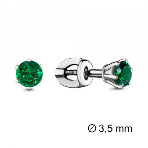 925 Sterling Silver pair earrings with emerald gt and nano emerald