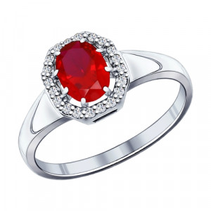925 Sterling Silver women's rings with synthetic corundum and cubic zirconia