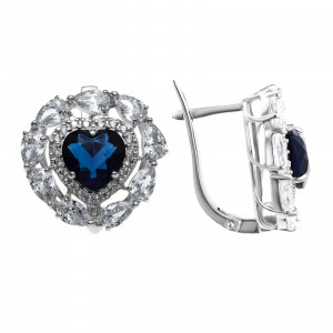 925 Sterling Silver pair earrings with crystal