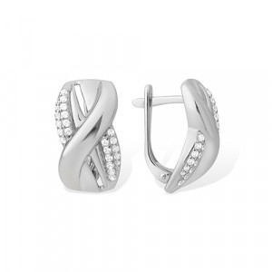 pair earrings with cubic zirconia