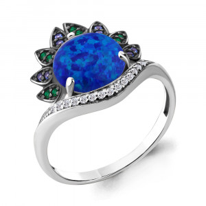 925 Sterling Silver women's rings with nano emerald and synthetic blue opal