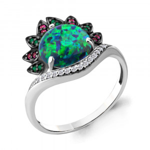 925 Sterling Silver women's rings with nano emerald and nano crystal