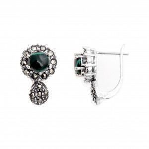 925 Sterling Silver pair earrings with malachite and marcasite