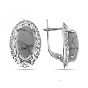 925 Sterling Silver pair earrings with coral and moonstone