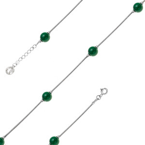 925 Sterling Silver necklaces with synthetic malachite
