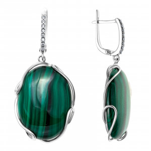 925 Sterling Silver pair earrings with malachite and cubic zirconia