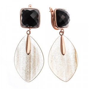 925 Sterling Silver pair earrings with blackonyx and mix