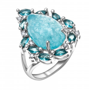 925 Sterling Silver women's rings with synthetic quartz and cubic zirconia
