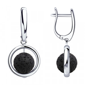 925 Sterling Silver pair earrings with volcanic lava