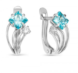 925 Sterling Silver pair earrings with multicolor cubic zirconia and cubic zirconia