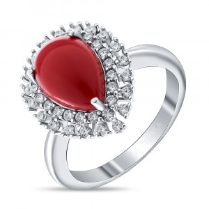 925 Sterling Silver women's ring with cubic zirconia and synthetic coral