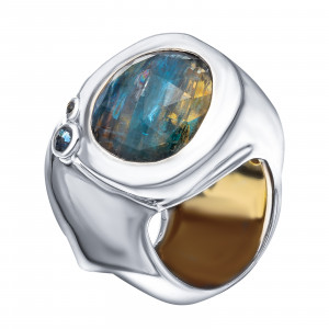 925 Sterling Silver women's rings with kyanite and sapphire