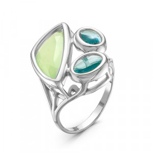925 Sterling Silver women's rings with blue quartz and green quartz