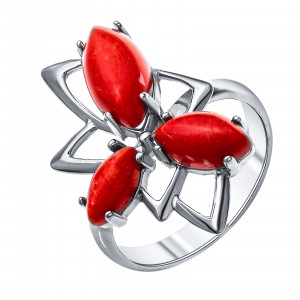 925 Sterling Silver women's rings with coral