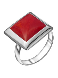 925 Sterling Silver women's ring with coral