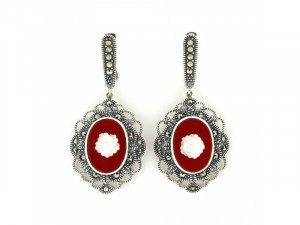 925 Sterling Silver pair earrings with cameo and marcasite