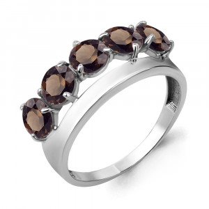 925 Sterling Silver women's rings with quartz and rauchtopaz