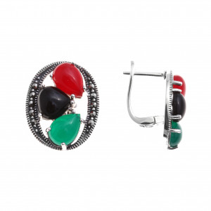 925 Sterling Silver pair earrings with onyx and green agate