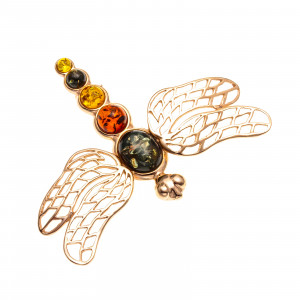 925 Sterling Silver brooches with  and amber