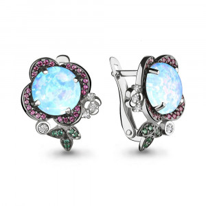 925 Sterling Silver pair earrings with nano crystal and nano emerald
