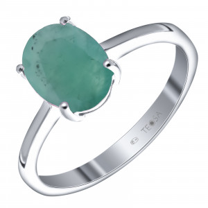 925 Sterling Silver women's rings with emerald and