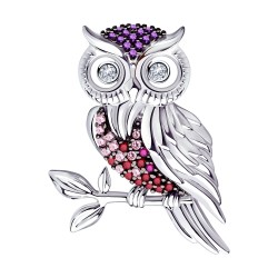 925 Sterling Silver brooches with synthetic corundum and cubic zirconia